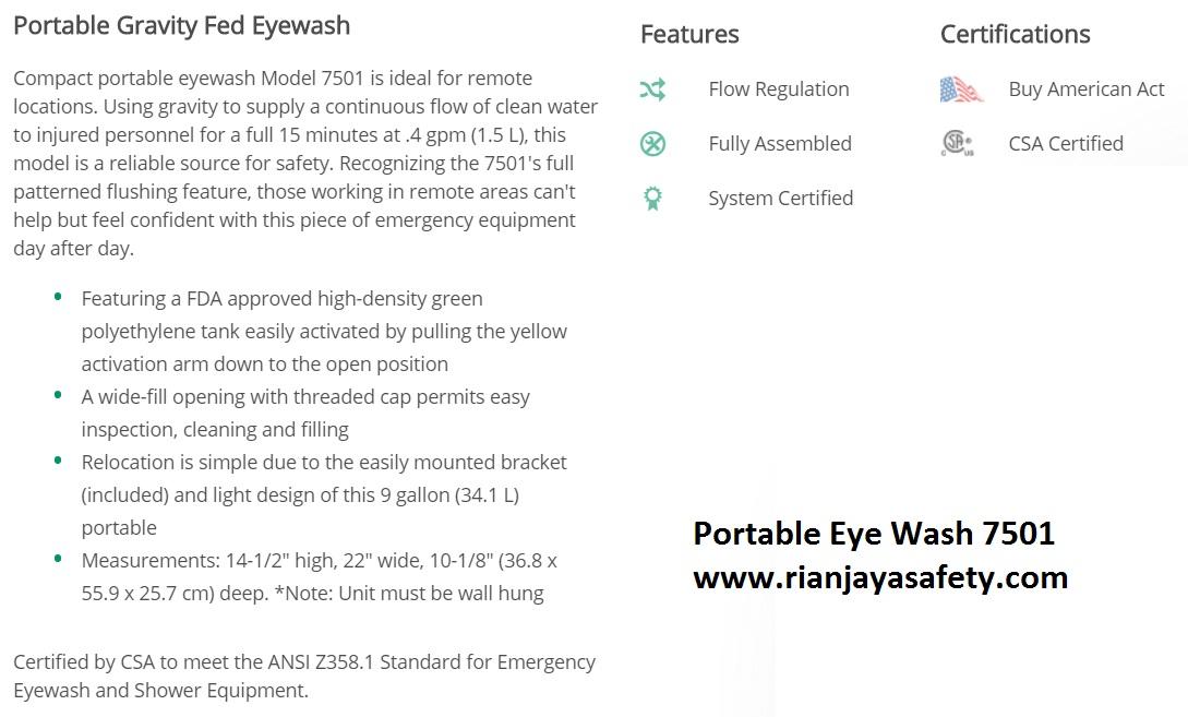 portable eye wash haws 7501 9 gallon