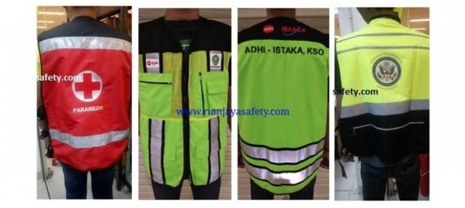 Terima jahit custom rompi safety logo perusahaan
